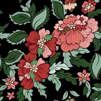 美しい花のベクトルのシームレスなパターン。