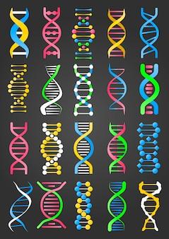 Коллекция знаков днк молекулы на черном