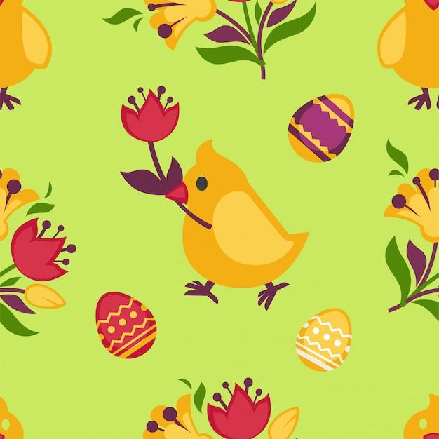 黄色のチキンと卵イースターシームレスパターン