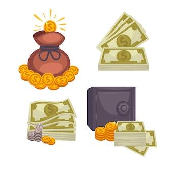 紙幣とバッグ