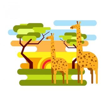 アフリカのサバンナサファリとキリンの夏休みベクトル