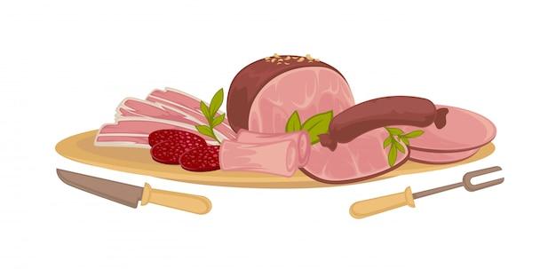 さまざまな種類の肉のセット