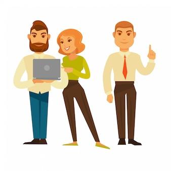 Деловые люди или офис-менеджеры и рабочие векторные иконки установить