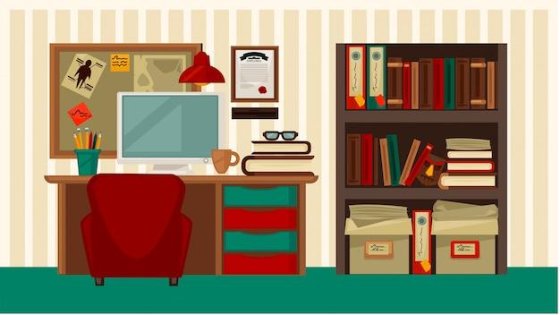 Удобное рабочее место в доме красочные вектор плоской иллюстрации
