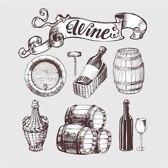 ワインとワイン造りのビンテージセット。