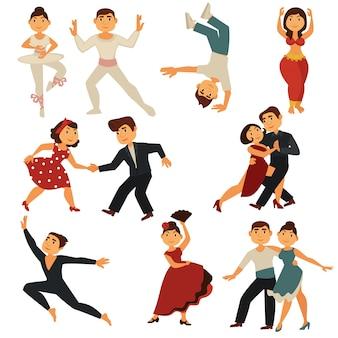 踊る人々のフラットアイコンのキャラクターがさまざまなダンスを踊る