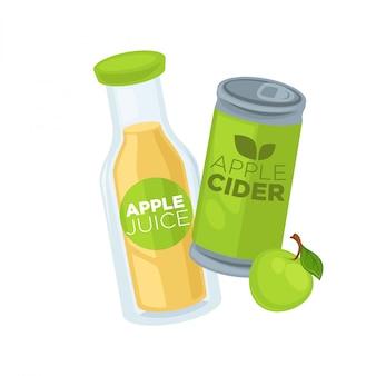 ガラス瓶の中のリンゴジュースとサイダー缶