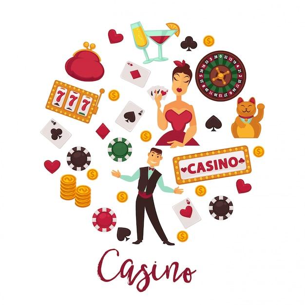 Промо-эмблема казино с набором игрового оборудования