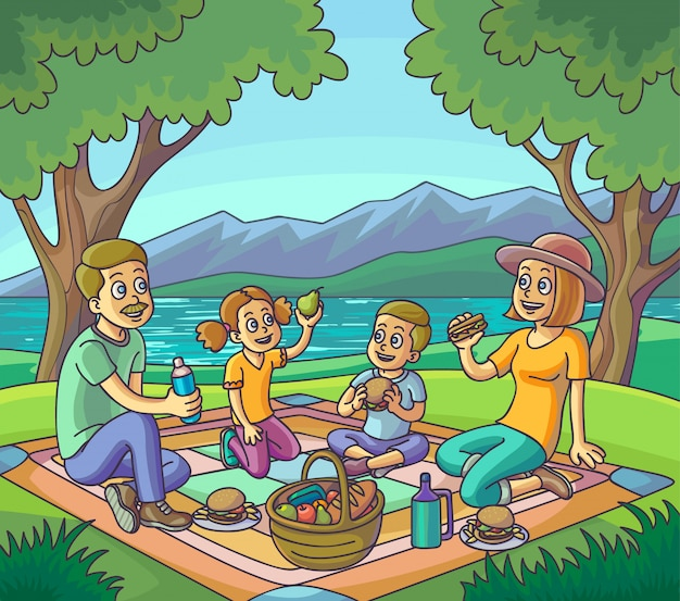 屋外のピクニックを持っている幸せな家族ベクトルイラスト