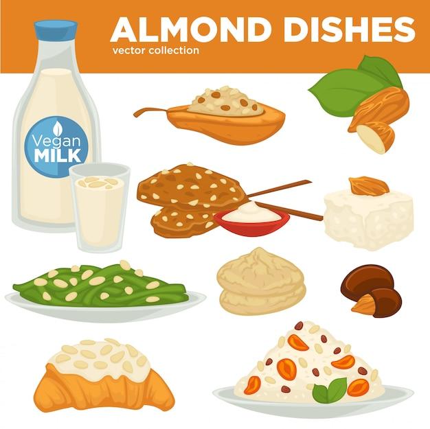 アーモンドナッツ料理ベクトル食べ物、飲み物、デザート