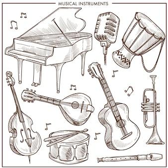 楽器ベクトルフォークまたはジャズのクラシック音楽のスケッチアイコンのコレクション