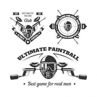 Шаблоны логотипов спортивного клуба игры в пейнтбол игрока, стреляющего в цель или пейнтбольный маркер