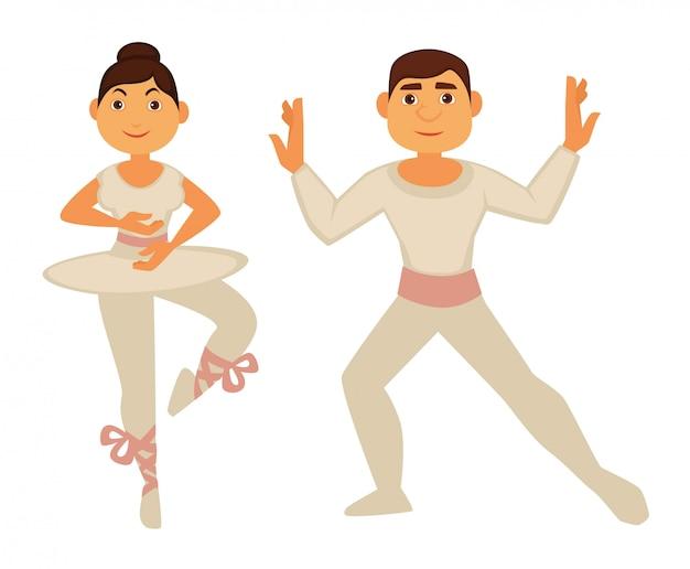白い細身の服を着たバレエダンサーが踊る