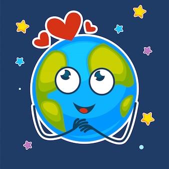 Земля с мечтательным лицом и сердцами над звездным небом