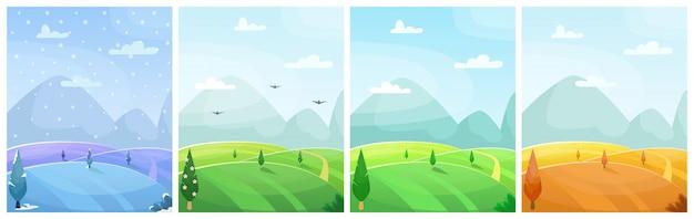 Набор сезонных плоских мультяшный пейзаж. поля с деревьями и горами