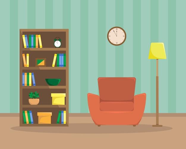 肘掛け椅子、本棚、床ランプのある読書室のフラットの図。
