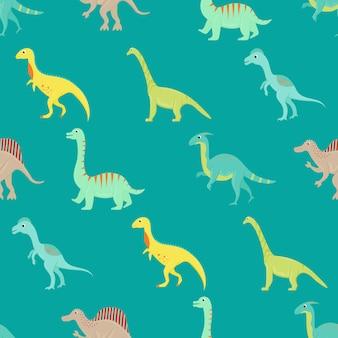 Безшовная картина с плоскими динозаврами шаржа.