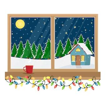 森の中に飾られた家の景色を望む窓。ガーランドとクリスマスウィンドウ。漫画イラスト。