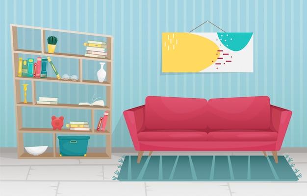 フラットなトレンディなインテリアには、木製の脚のソファと本棚が備わっています。