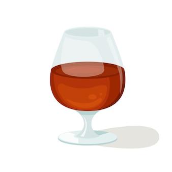 Векторная иллюстрация красивый стакан коньяка. крепкий алкоголь.