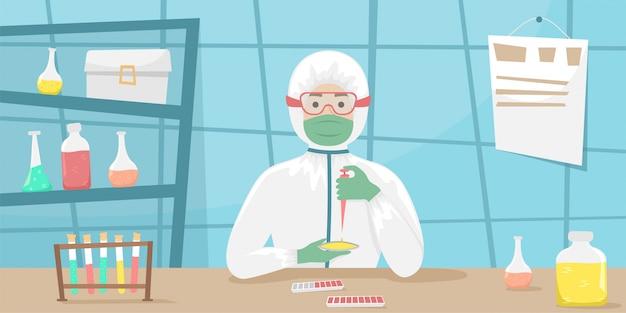 Человек в бактериальной защите исследует образцы вируса и разрабатывает вакцину. вирусная болезнь. эпидемия.