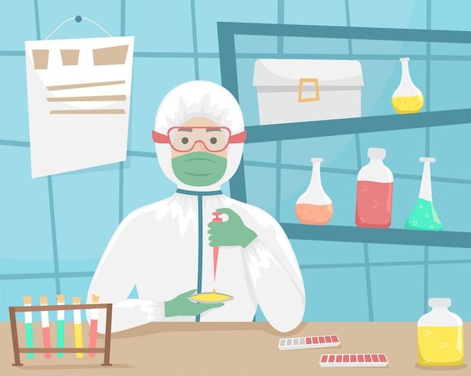 細菌保護の男性は、ウイルスのサンプルを検査し、ワクチンを開発しています。