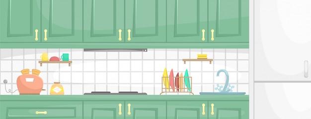 木製キャビネット付きのキッチンインテリア。カウンターの上にシンク、オーブン、皿、トースター。フラットの図。