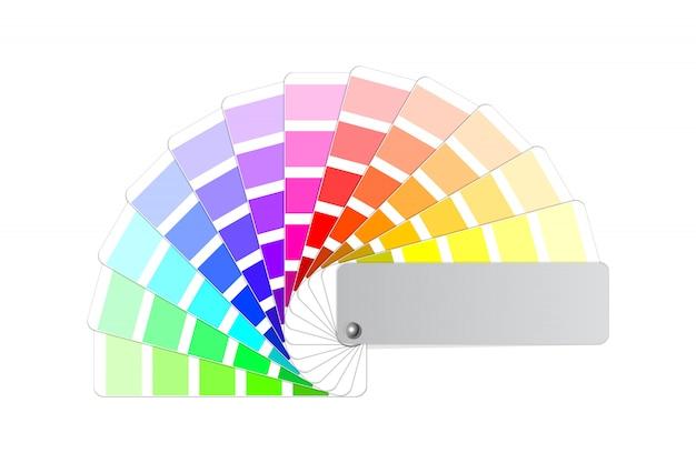 カラーパレットガイド、明暗の色合いの色付きの扇形サンプル見本帳