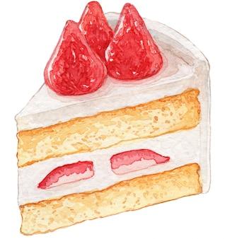 ストロベリーショートケーキの水彩イラスト