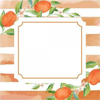 Шаблон границы рамки цитрусовых акварель оранжевый кумкватс