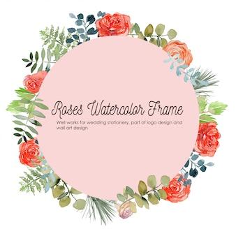 バラの花の水彩画フレームの背景