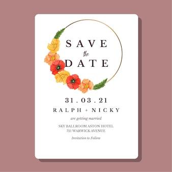 水彩のポピー花ゴールドラウンドボーダー結婚式の招待カードテンプレート