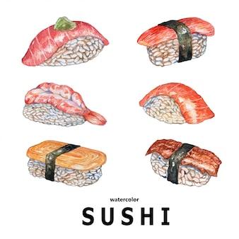 Суши акварельные иллюстрации