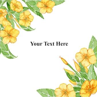 黄色の夏のラナンキュラスの花フレーム水彩イラスト