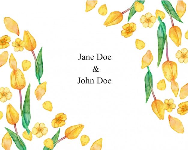 黄色の夏の花の花びらフレーム水彩イラスト