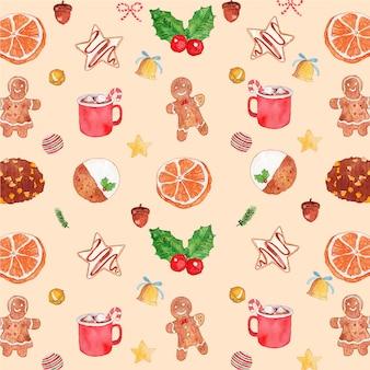 水彩クリスマスジンジャークッキーとホットチョコレートのシームレスパターン