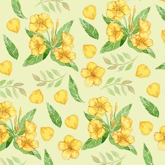 ラナンキュラス黄色い花水彩シームレスパターン