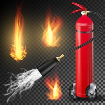 赤い消火器ベクトル。炎のサインと金属の赤い消火器。透明な背景