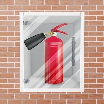Красный огнетушитель в стене ниши вектор. металлическая глянцевая реалистичная иллюстрация красного огнетушителя
