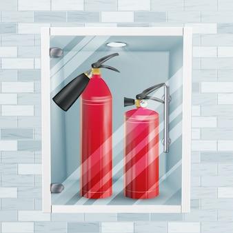 レンガの壁の消火器ニッチベクトル。金属光沢のあるリアルな赤い消火器イラスト