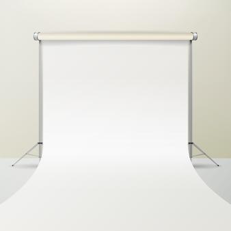 ホワイトフォトスタジオのベクトル。リアルフォトグラファースタジオインテリアイラスト