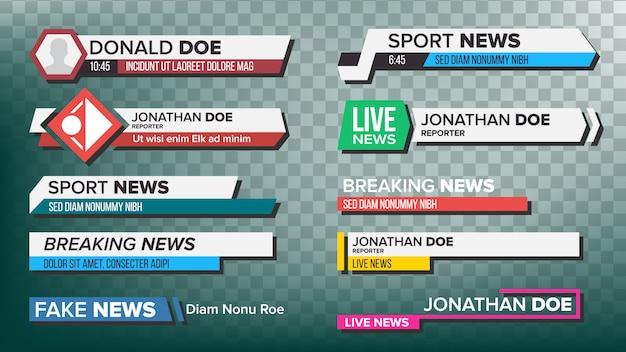 Набор телевизионных новостных баров