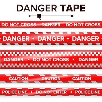 危険テープベクトル。赤と白。警告テープストリップ。現実的なプラスチック製の警察の危険テープセット