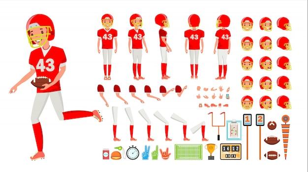アメリカンフットボール選手の男性ベクトル。アニメキャラクター作成セット。アメリカンフットボールの男の全身、前面、側面、背面図、アクセサリー、ポーズの感情、ジェスチャー