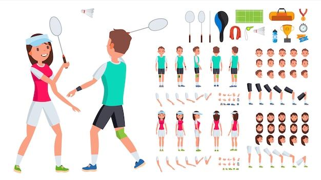 バドミントン選手男性、女性のベクトル。アニメキャラクター作成セット。男、女全身、正面、側面、背面図。バドミントンアクセサリー。ポーズ、感情、ジェスチャー
