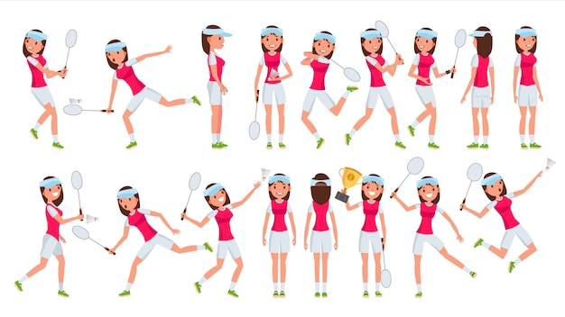 バドミントン女子選手女性ベクトル。遊んでいます。制服を着た選手。漫画のアスリートキャラクター