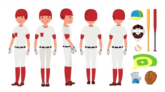 Классический бейсболист вектор. классическая униформа. различные позы действий. плоский мультипликационный персонаж
