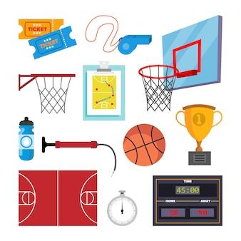 バスケットボールのアイコンはベクトルを設定します。スポーツバスケットボールのシンボルとアクセサリー。孤立したフラット漫画