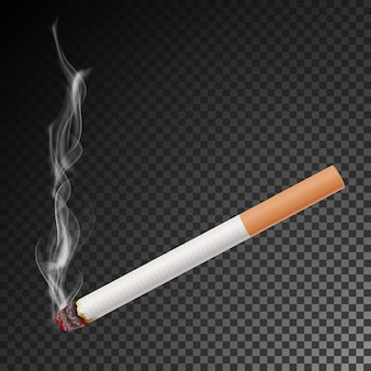 Реалистичная сигарета с дымом вектор. изолированная иллюстрация.
