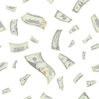 空飛ぶ米ドルのシームレスパターン